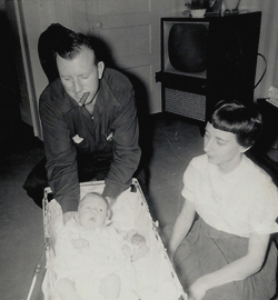 Jo and John with Bob age 2 months.jpg
