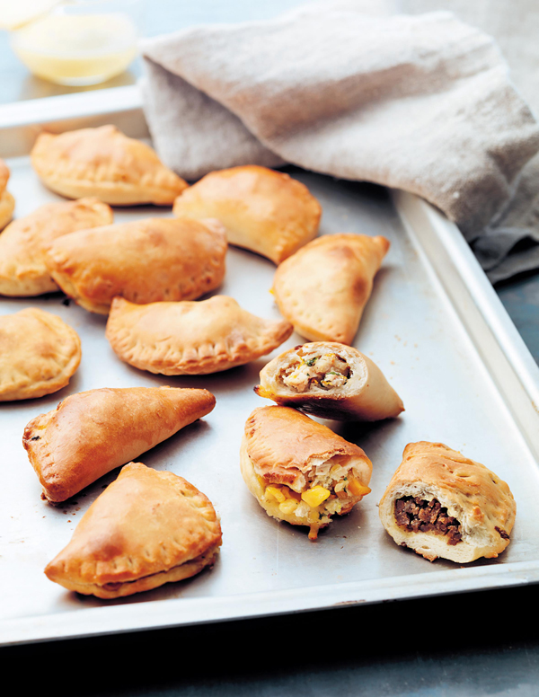 Cheese, Corn & Chili, Chicken & Orange and Spicy Beef empanadas